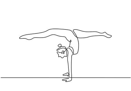 One line drawing of woman doing handstand. Young cute girl doing exercise and training standing with her hands isolated on white background. Minimalist style. Vector design illustration