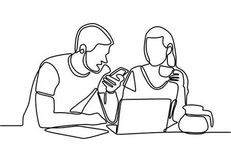 Continuous one line drawing of man and woman sitting with laptop. Two creative coworkers discussing work on screen talking about the problem and think of strategy. Business creative thinking concept