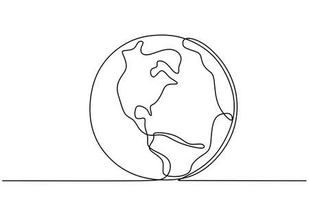 Earth globe one line drawing of world map vector illustration minimalist design of minimalism isolated on white background. Planet of Earth hand drawn illustration for logo, emblem and design poster Illustration
