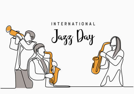 Continuous one line drawing international jazz day. Music player group minimalism design. Classical music instrument orchestra theme. Group of people playing jazz music isolated on white background.