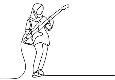 Continuous one line drawing of hijab girl playing guitar. Happy young cute hijab woman showing her skill playing guitar on stage. Character musician muslimah lady isolated on white background.