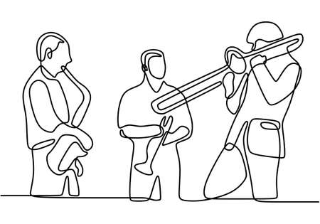 Continuous line drawing of music jazz. Three people jazz group performing jazz music concert. Vector illustration of people group band including singer, guitarist, and drummer. Minimalism design