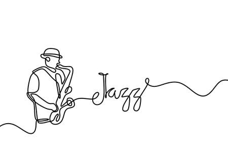 One line drawing of jazz trumpet player. Young man wearing hat and performing on the stage. Character male playing jazz music. Classical music instrument vector design illustration.