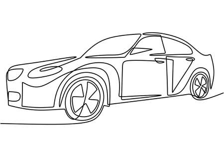 One single continuous line drawing of luxury car. Close-up. Sporty car vehicle transportation concept isolated on white background. Vector hand drawn minimalistic illustration