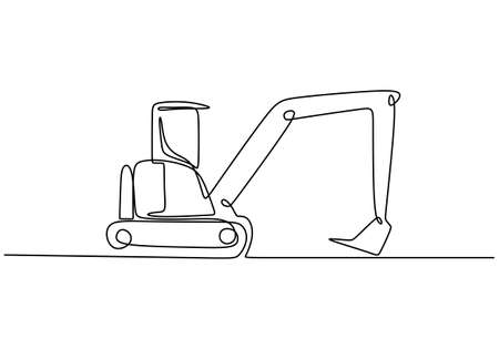 Continuous line art or one line drawing of construction backhoe vehicle. Heavy construction machinery concept. Excavator work isolated on white background. Vector design illustration