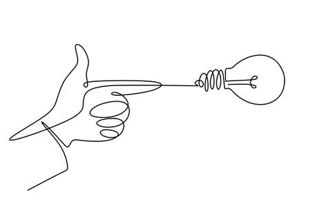 Continuous one line drawing of hand pointing a bulb lamp. Think big, point to idea concept minimal design isolated on white background. Vector illustration minimalism concept of idea and creativity