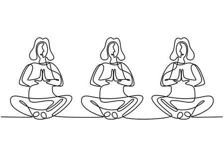 Woman doing yoga exercise. Three young girls sitting cross legged meditating continuous one line draw design isolated on white background. Character women group yoga lessons. Vector illustration.