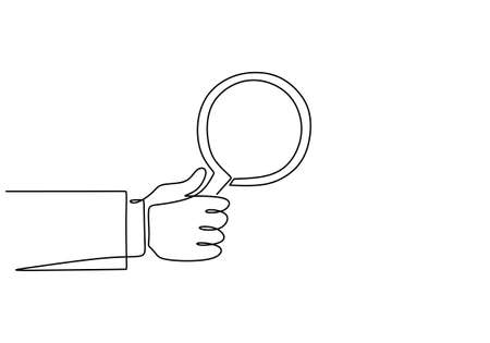One continuous line of hand holding magnifying glass. Magnifier to detect something very small. Zoom in theme line art drawing vector illustration minimalist design isolated on white background. Illustration