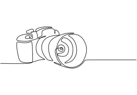 One line camera design. DSLR camera digital vector with single continuous line drawing minimalism linear style. Photography equipment concept isolated on white background vector design illustration Illustration