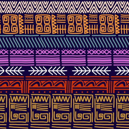 Seamless vector tribal texture set. Ethnic motifs group seamless texture. Vintage ethnic seamless backdrop. Vector stripes pattern. Perfect for printing on textile fabric or paper. Çizim