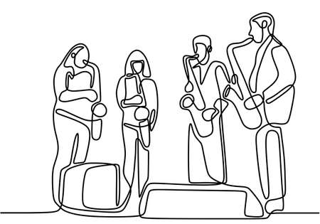 Continuous one line drawing of jazz player music group minimalism design. Classical music instrument orchestra theme. Group of people playing jazz music isolated on white background.