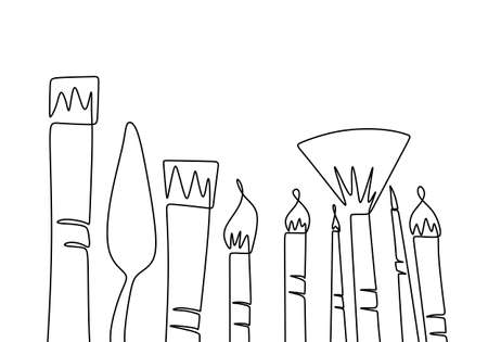 Art equipment of paint brush one continuous line drawing. Types of brushes to paint single hand drawn art line doodle outline isolated minimal illustration cartoon character flat Illustration