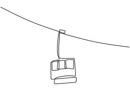 One continuous line drawing of cable car. Transportation to the mountain. Cable car or ropeway for on the way go to the ice mountain minimal hand draw isolated on white background