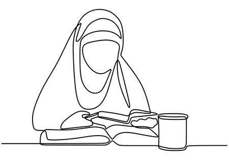 Continuous one line muslimah woman student reading a book with a glass coffee on desk. Character hijab lady reads. Back to school concept isolated on white background. Vector design illustration Illustration