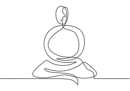 Continuous line art or one line drawing of man doing exercise in yoga pose. Energetic young male sitting crossing leg with yoga lotus pose. Man practice yoga for meditation. Vector illustration. Illustration