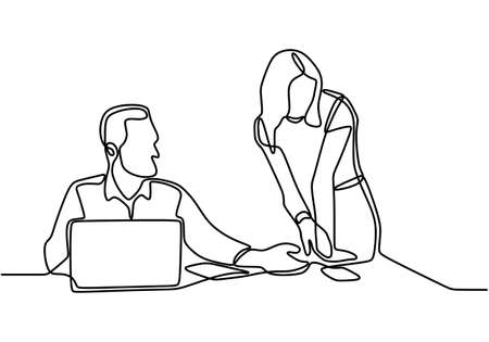 Continuous line drawing of coworkers watching laptop computer together. Young man and young woman in front of computer talking about problem with work. The guy shows the girl on the screen.