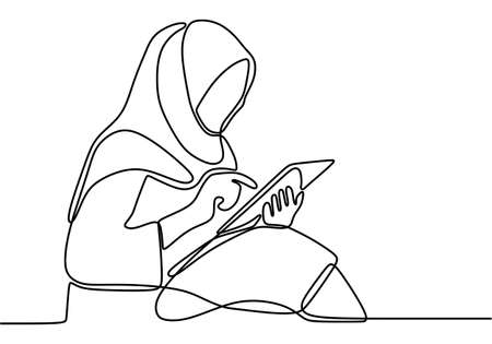 One continuous drawn line young muslimah girl sitting on the floor and using a digital tablet. Happy beautiful hijab girl playing tablet for search information online. Playing gadget tablet concept