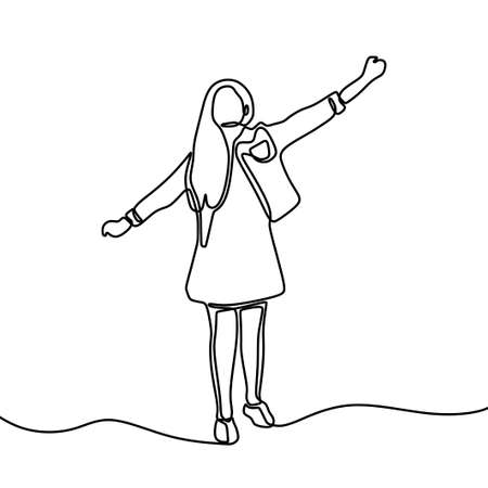 Continuous one line drawing of cute girl standing happy. Beautiful lady wearing dress and blazer look very cheerful. Expression happy and cheerful concept. Vector minimalistic style illustration Illustration