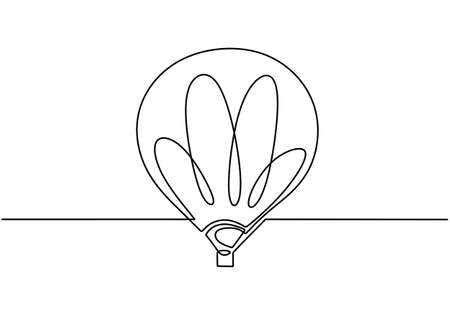 Continuous line drawing icon hot air balloon. Happy holiday with air balloon. Can see the view from a height. Retro airship or transport icon. Balloon in clouds concept. Vector sketch illustration