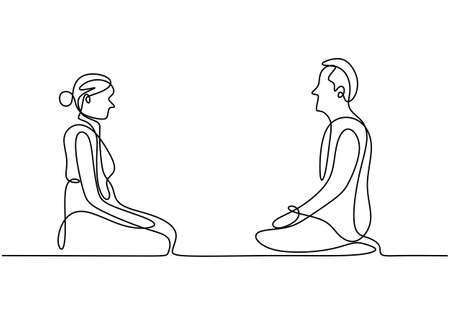 Continuous line drawing of couple doing yoga meditation. Young man and woman sitting with folded legs and facing each other isolated on white background. Meditation for healthy life theme