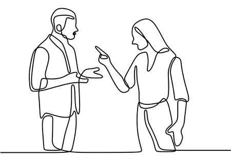 Continuous line drawing of couple in conflict. Couple fighting and pointing finger at each other. Man and women talking with angry gesture vector illustration isolated on white background. Illustration