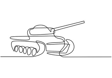 One continuous line drawing of Tank. An armoured fighting vehicle designed for front-line combat and war. Metal war tank with cannon gun. Modern military transportation vehicle concept