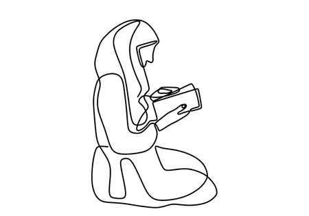 Continuous single line muslimah woman reads al-qur'an. A beautiful hijab girl sitting and read al-qur'an everyday after praying. Isolated image hand draw contour on a white background