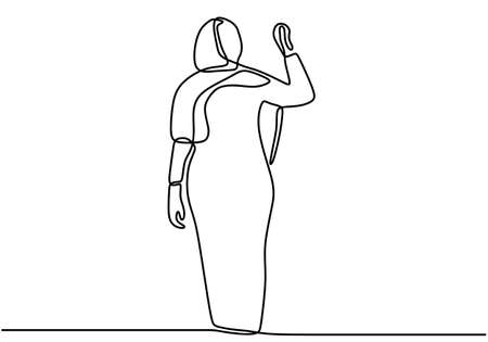 One single line drawing of young happy muslimah girl with head scarf pose. Young happy pretty women model in trendy hijab fashion concept continuous line draw design vector illustration