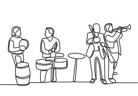 One line drawing jazz music player. A group of cello player, trumpet and saxophone person isolated on white background. People with classical music instruments. Jazz group player minimalism design