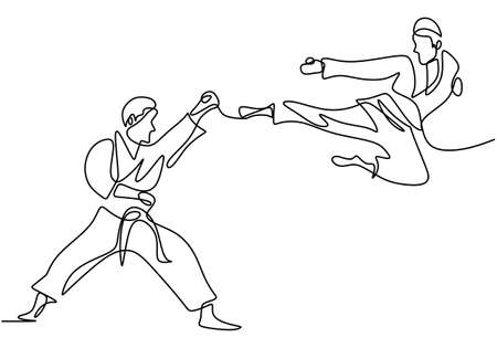 One single continuous line drawing of Taekwondo and Karate training. Two senior men practice taekwondo by attacking using legs and hand blows hand draw isolated on white background