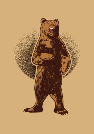 Hand drawn bear illustration for t-shirt, poster or logo. Grizzly Illustration isolated on beige background