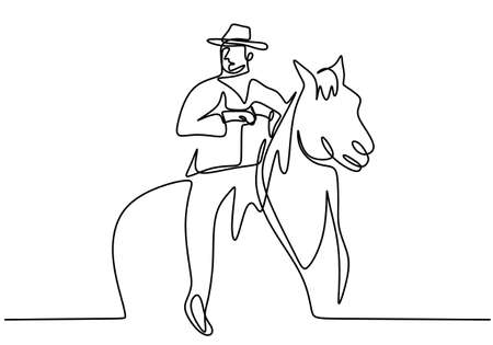 One continuous drawing line young man with a cowboy hat riding a horse. Senior men pose elegance on horseback minimalist concept isolated on white background. Modern hand draw design Illusztráció
