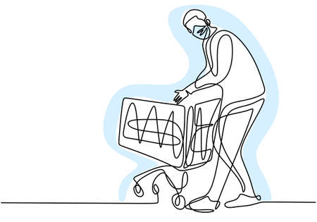 Continuous one line drawing of man holding shopping trolleys. Young male standing while buying food in supermarket with protecting face mask so as not to spread COVID19. New normal transition