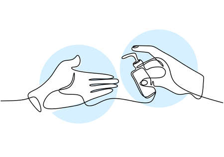 Continuous one line drawing hand holding liquid sop. Hand sanitizer to clean your hands to avoid viruses COVID-19. Wash your hand. Antiseptic in bottle isolated on white background