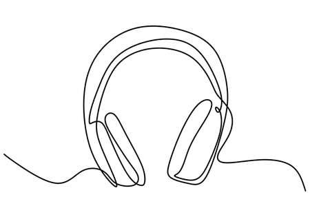 One line drawing of headphone speaker device gadget. Headphone audio for listen isolated on white background. Portable earphones technology symbol continuous line art minimalism design Ilustração