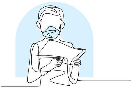 Continuous one line drawing a kid holding the book. The boy wear a mask reading the book to learning and studying. Study at home during pandemic COVID-19. Stay at home hand-drawn design theme