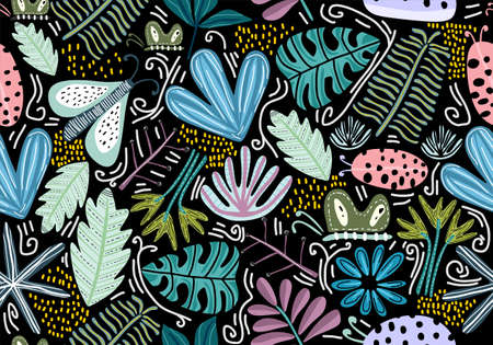 Seamless vintage pattern with decorative flowers. Amazing floral pattern with bright colorful flowers, plants, branches and leaf on a black background. Fashion style. Vector illustration