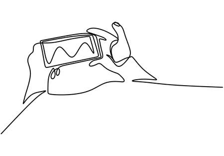 Continuous single drawn one line drawing of hand using modern gadget to playing the game. The phone is in the hands hand-drawn picture silhouette. Smart technology futuristic game player concept