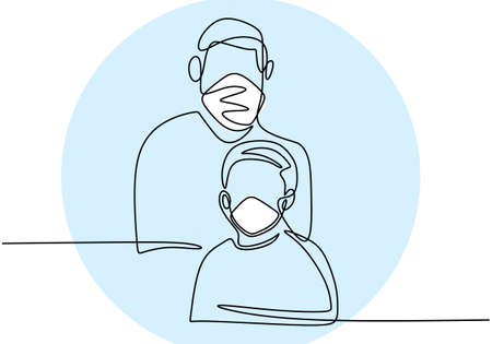 Continuous one line drawing father and son. Daddy and his kid with protecting face mask to prevent virus infection. Get used to living clean and healthy in new normal. COVID-19. Vector illustration Ilustração