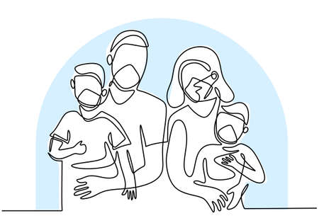 Continuous one line drawing of family wearing protective medical masks and staying at home during pandemic COVID-19. Father, mother and two children stay safe with a mask and ready to new normal