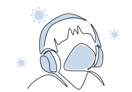 One continuous line of young man listening music with headphone. Male in earphone at home in pandemic. Relaxing music for stress therapy. Audio meditation concept. Vector illustration