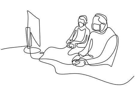 Continuous line drawing of gamer with protective face mask. Two young man look into monitor screen and playing a game console at home during self isolation in pandemic. Vector design illustration Ilustração