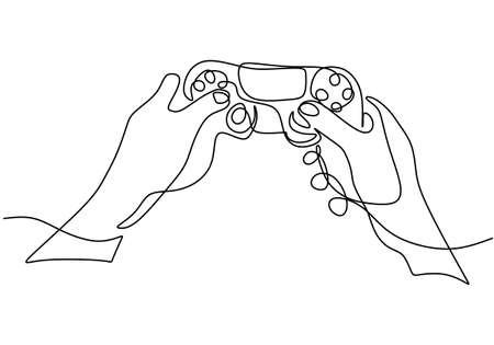 One continuous single line drawing of hands with joystick. E-game to entertainment during stay at home. Vector illustration