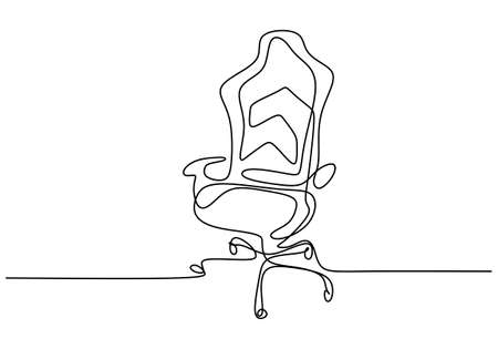 Continuous one line drawing office chair. Modern work chair isolated on white background. Comfortable office chair for work minimalism design. Stylish office interior concept. Vector illustration