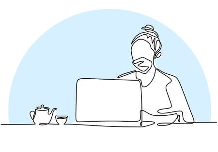 Continuous line drawing of professional young business woman on computer. Beautiful lady using her laptop to work in pandemic while wear a mask isolated on white background. Work from home concept.