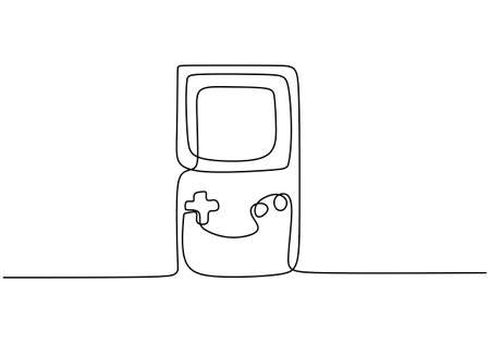 One single line drawing of portable arcade video game watch. Vintage console game item hand-draw minimalism design isolated on white background. Retro old classic game concept. Vector illustration
