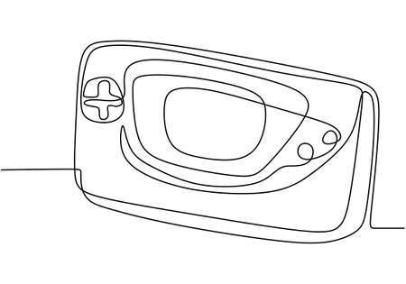 Continuous one line drawing of game console icon in badge style. Modern handheld game console electronic gadgets design icon on white background. Entertainment and active life. Vector illustration