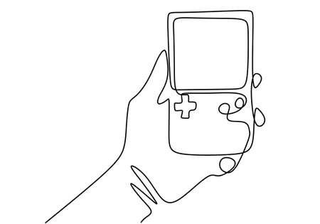 One single line drawing of hand holding portable arcade video game watch. Vintage console game isolated on white background. Retro old classic game minimalist concept. Vector illustration