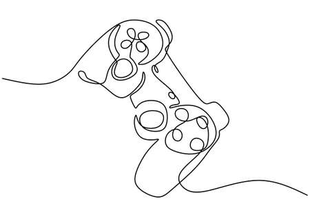 One continuous line drawing of joystick. A game stick to play the game minimalism hand-draw isolated on white background. Modern wireless game controller for PC. Vector illustration Ilustração