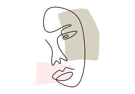 Continuous line, drawing of faces, fashion minimalist concept, vector illustration. Woman abstract face hand drawn isolated on white background. Portrait a female in modern abstract style